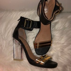 Jeffrey Campbell Black Leather Clear Heels - 6.5